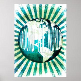 around the world : globe burst poster