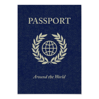 around the world : passport 13 cm x 18 cm invitation card