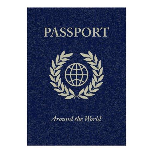 around the world : passport custom invitations