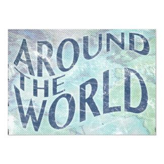 around the world : passport page 13 cm x 18 cm invitation card