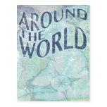 around the world : passport page post card