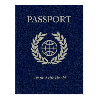 around the world : passport postcard
