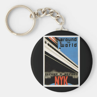 Around the World with NYK Basic Round Button Key Ring