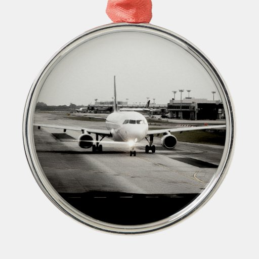 Arplane on runway for take off christmas ornament
