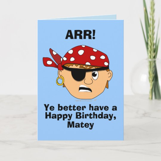 Arr Pirate Boy Funny Birthday Card Template Zazzle