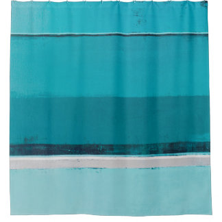 'Arrange' Teal and Grey Abstract Art Shower Curtain
