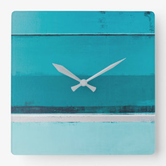 'Arrange' Teal and Grey Abstract Art Square Wall Clock
