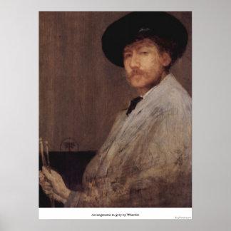 Arrangement in grey by Whistler Print