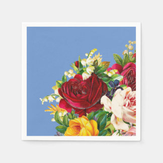 Arrangement of Red Pink and Yellow Roses Paper Napkin