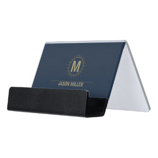 Array and Line Monogram Professional Gold ID313 Desk Business Card Holder