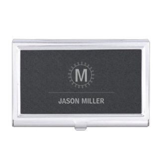 Array and Line Monogram Professional Silver ID313 Business Card Holder