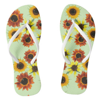 Array Colorful Sunflowers Flowers FlipFlops