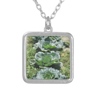 Array of cabbages silver plated necklace