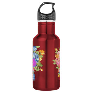 Array Of Flowers With Name Plate 532 Ml Water Bottle