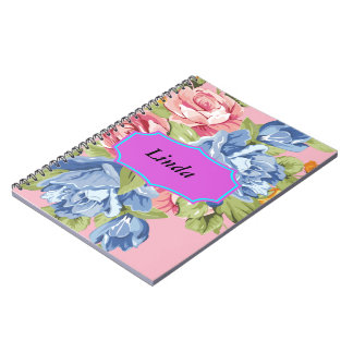 Array Of Flowers With Name Plate Notebooks