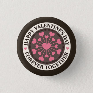 Array of Hearts Forever Together Valentine 3 Cm Round Badge