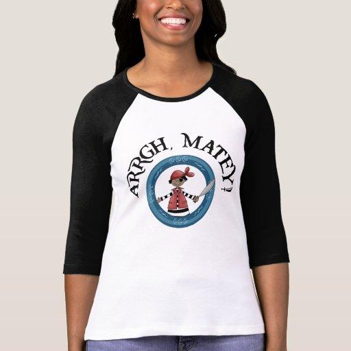Arrgh Matey Pirate Boy 3/4 Sleeve Raglan Shirts