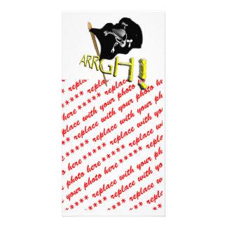 ARRGH! Waving Jolly Roger Pirate Flag Photo Card Template