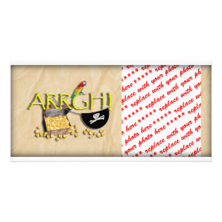 ARRGH! With Pirate Treasure, Parrot & Eye Patch Custom Photo Card