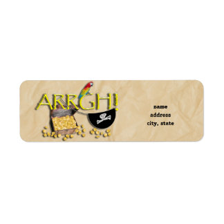 ARRGH! With Pirate Treasure, Parrot & Eye Patch Return Address Label