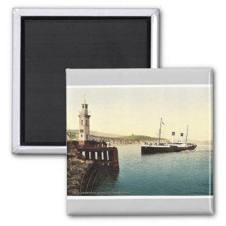 Arrival of Boulogne boat, Folkestone, England rare Square Magnet