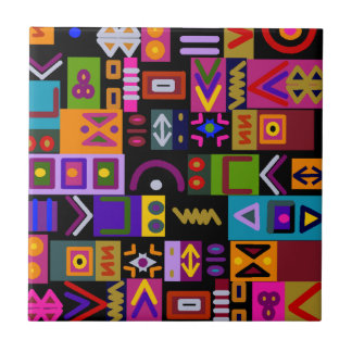 arrow and lines with shapes collage mosaic small square tile