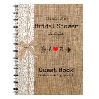 Arrow Burlap Lace Image Bridal Shower Guest Book | Note Books