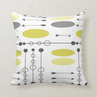 Arrow Mid-Century Gray Yellow Arrows and Circles Throw Pillow