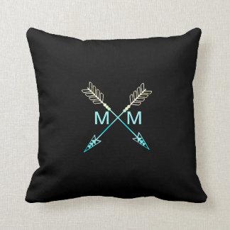 Arrow Modern Tribal Monogram Black & Teal Cushion