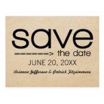Arrow Typography Save the Date Postcard Black