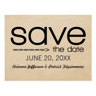 Arrow Typography Save the Date Postcard, Black