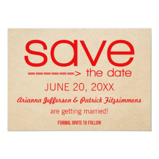 Arrow Typography Save the Date, Red Card