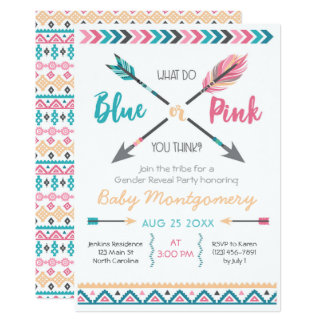 Arrows Gender Reveal Party Invitation Feathers Boh