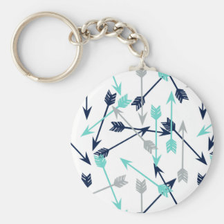Arrows Scattered / Navy Mint Grey / Andrea Lauren Basic Round Button Key Ring