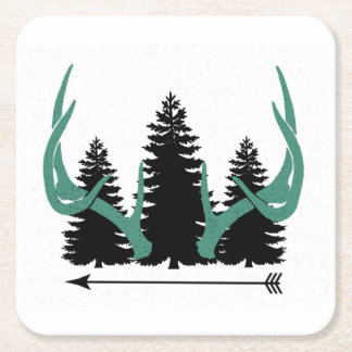 Arrows, Trees & Antlers Square Paper Coaster