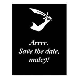 Arrr! Pirate Flag Black Save The Date Cards Postcard