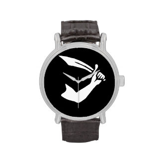 Arrr! Pirate Flag Leather Band Watch