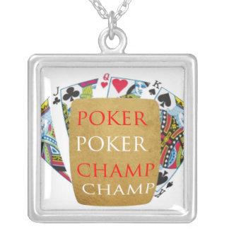 ART101  Poker Champ  - Art n Designer Text Square Pendant Necklace