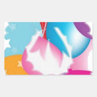ART101 - Stars n Baloons Wreath Cutout Rectangular Sticker