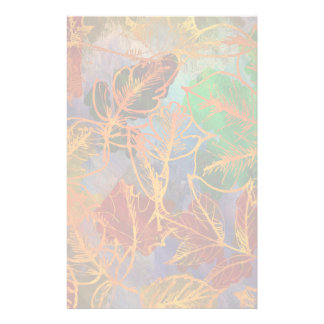 Art Autumn Leaves Background In Rainbow Colors Custom Stationery