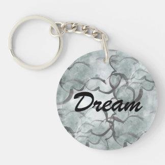 art avant-garde gray, black hand paint Double-Sided round acrylic key ring