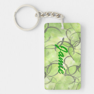 art avant-garde hand paint background green Double-Sided rectangular acrylic key ring