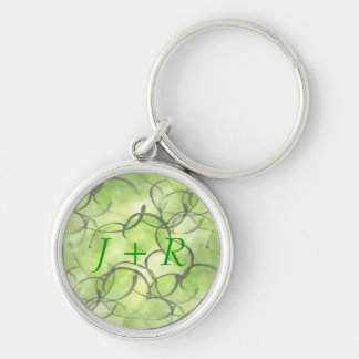 art avant-garde hand paint background green Silver-Colored round key ring