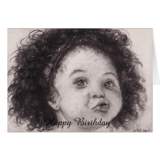 art birthday card little girl
