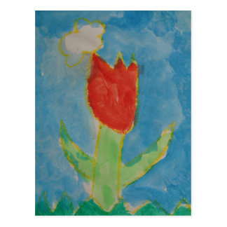 Art by Children, Watercolor Painting, Tulip, Card Postcard