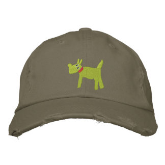 Art Cap: Bella Scotty Dog and Signature Lime Green Embroidered Hats