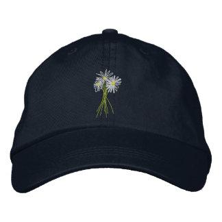 Art Cap: Flower Bunch. Cornish White Moon Daisies Embroidered Hat