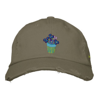 Art Cap: Pansies in a Lime Pot and Signature Embroidered Baseball Caps