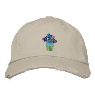 Art Cap: Pansies in a Lime Pot and Signature Embroidered Hat