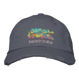 Art Cap: Tropical Beach Babe Design Embroidered Baseball Caps